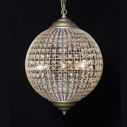 Medium Gold Finish Globe Chandelier